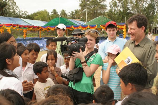 Kristof and NYT video journalist Kassie Bracken interview Cambodian schoolkids