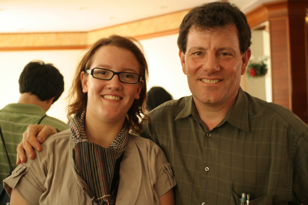 Kristof and I in Phnom Penh. Ignore the bad hair and generally exhausted face; only in movies does the foreign correspondent look hot after getting up at 5 am and working all day under the unforgiving Cambodian sun